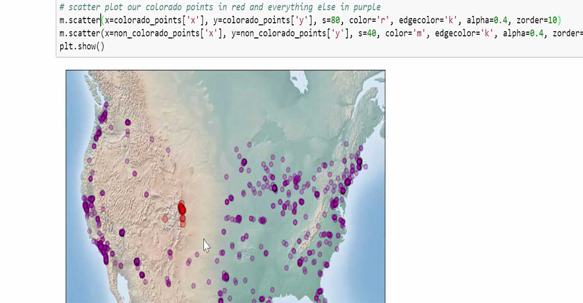 plot map of United States creating in python for urban planning course