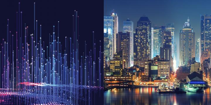 data graphic and city skyline