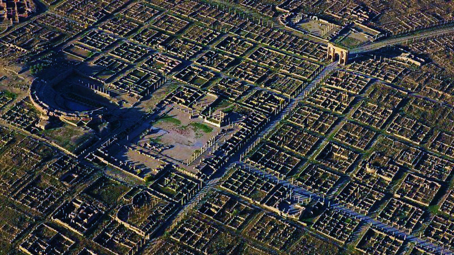 aerial view of ancient city grid