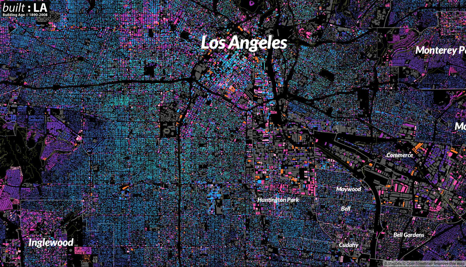 color coded building map of los angeles created using mapbox