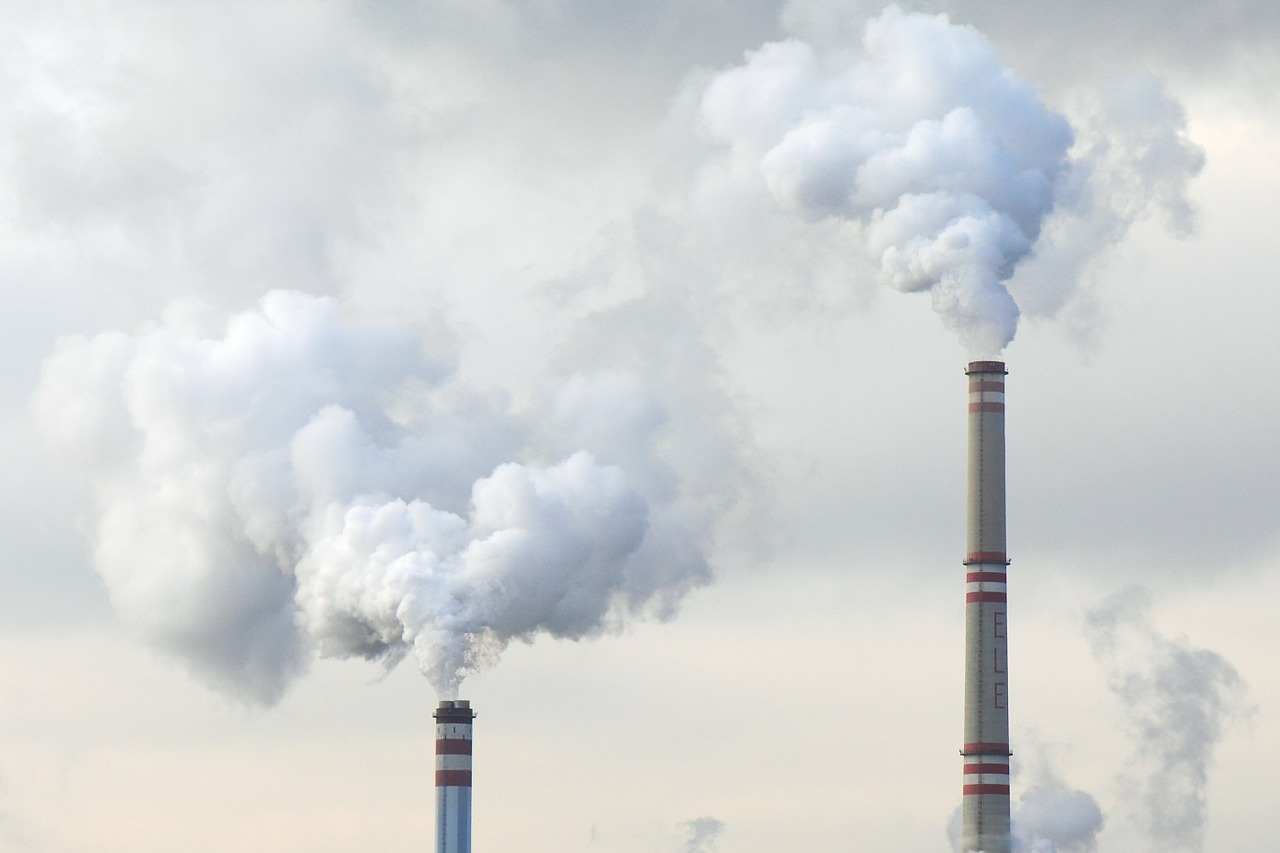 pollution coming from factory smoke stacks