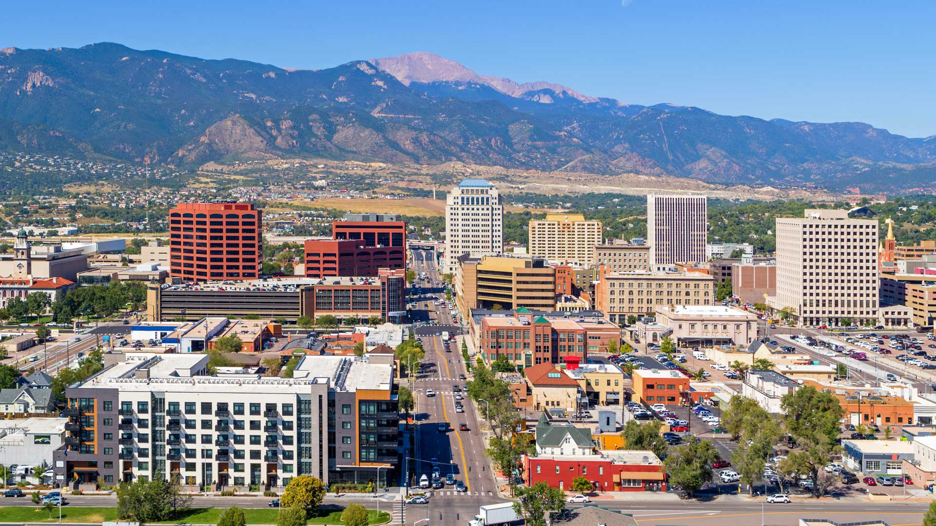 aerial of downtown colorado springs