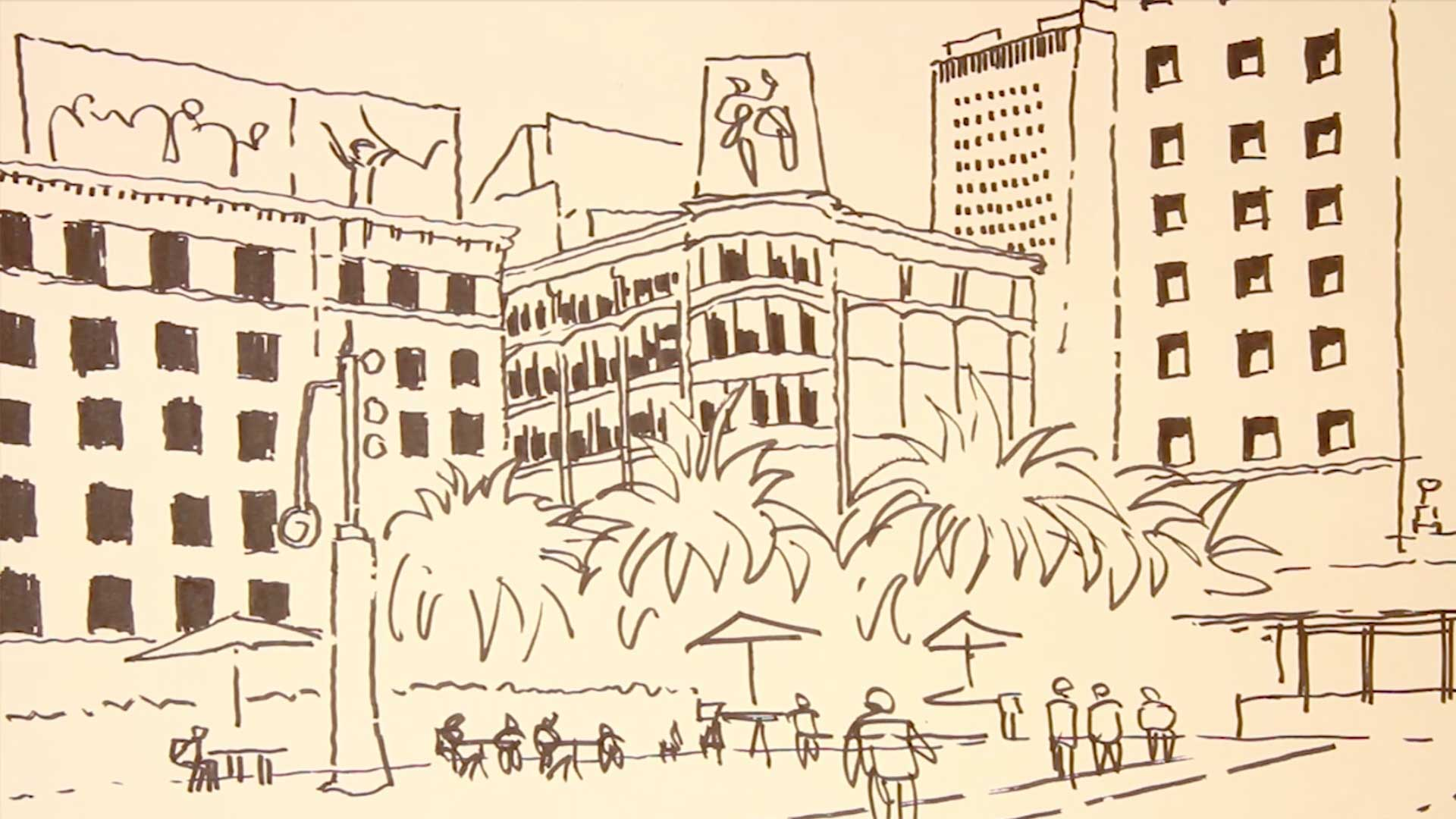 ink drawing of buildings and people in foreground