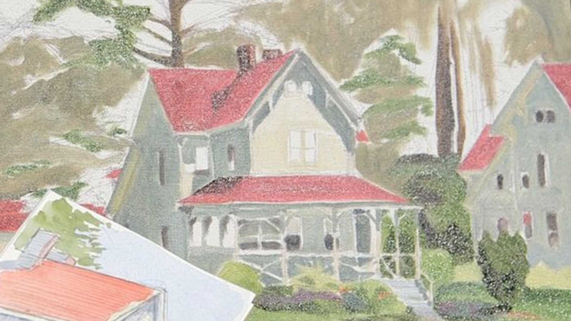 watercolor of house and trees
