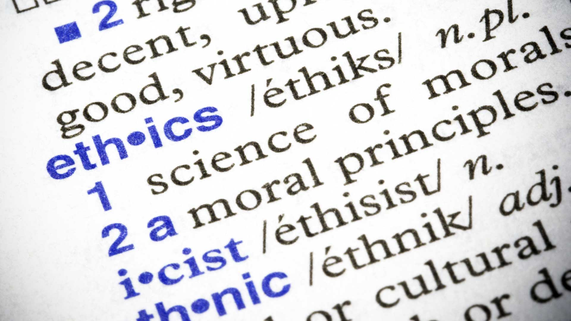 closeup of ethics defintion