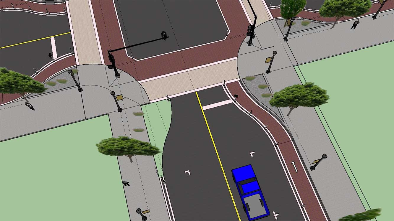 streetscape design created in sketchup for urban planning course