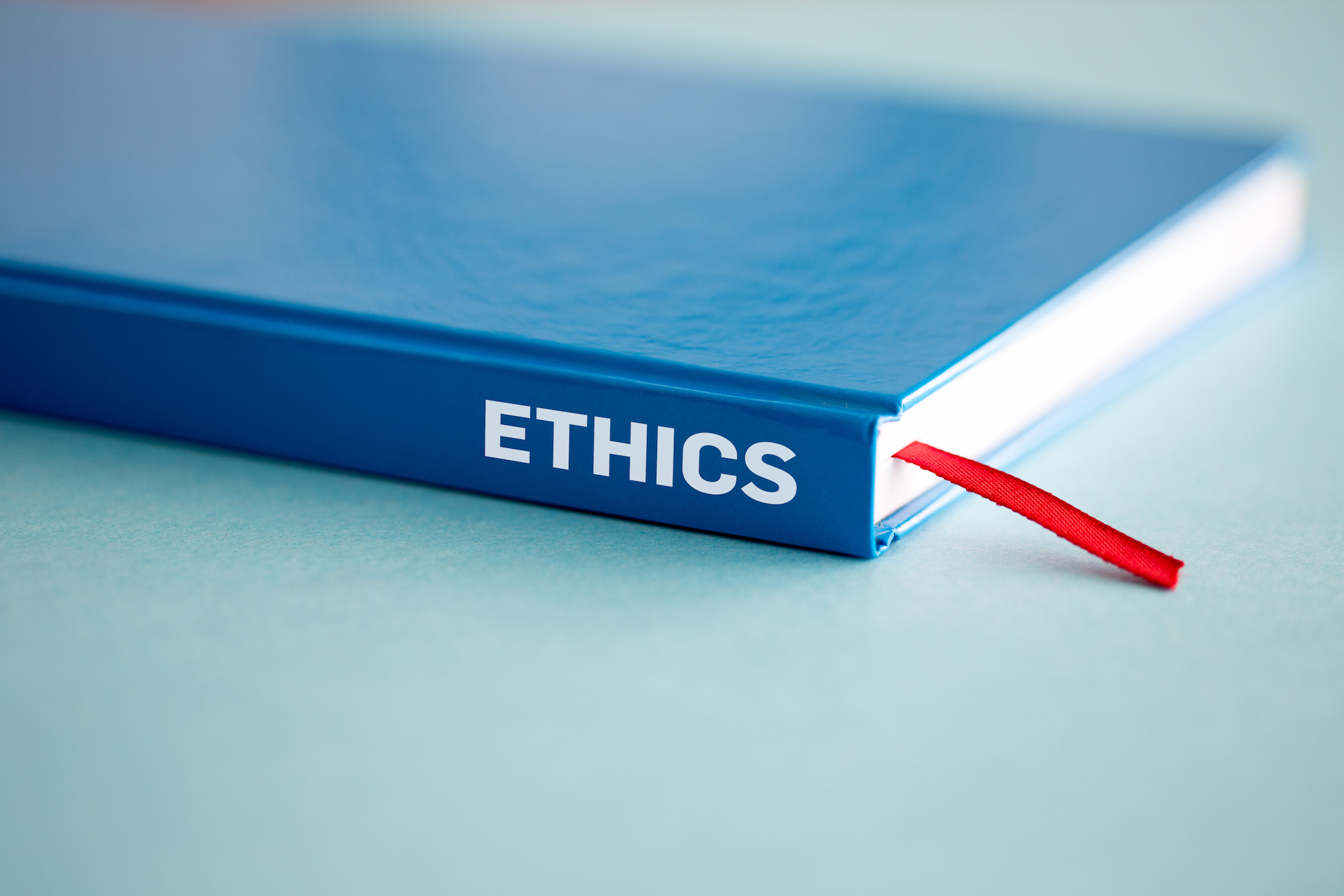 closeup of book titled Ethics