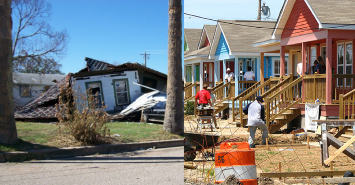 homes being cleaned up from disaster