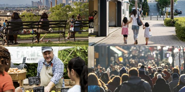 collage of people on park bench and farmer's market