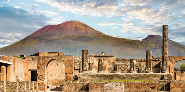 Pompeii ruins with Mount Vesuvius in the background